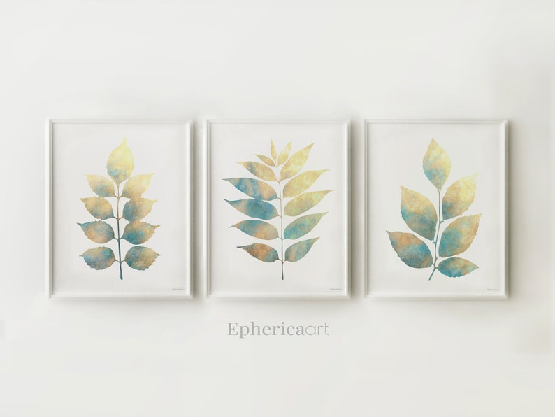 Printable art set Plants wall decor Blue beige leaves art image 0