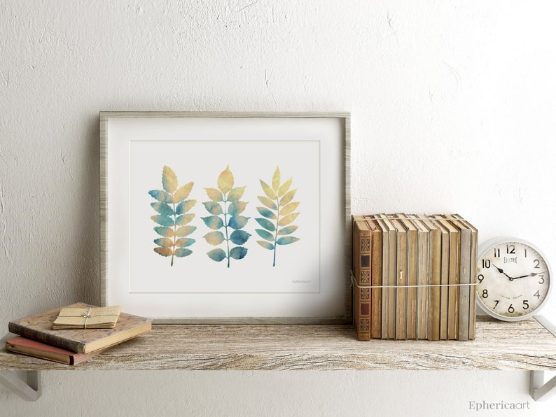 Horizontal print art Beige Blue leaves design wall print for image 0