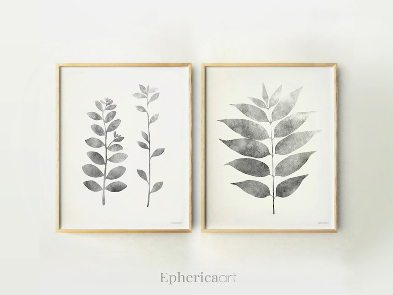 Gray Print set of Plants wall prints Black and white Botanical image 0