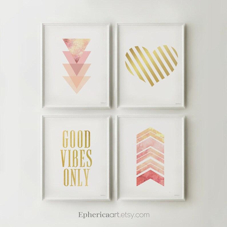Printable art decor Downloadable prints wall art Pink and image 0