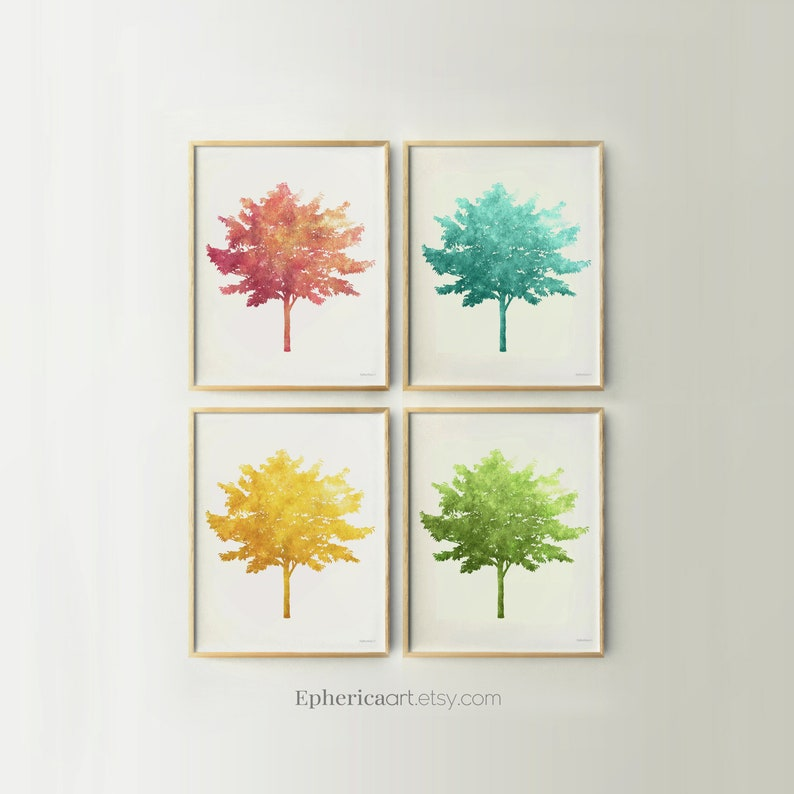 Colorful Trees print set Tree wall art collection Set of 4 image 0
