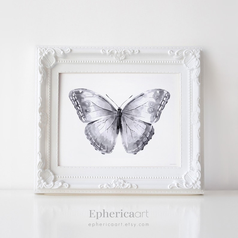 Gray Butterfly Print Digital DOWNLOAD art Black and white image 0