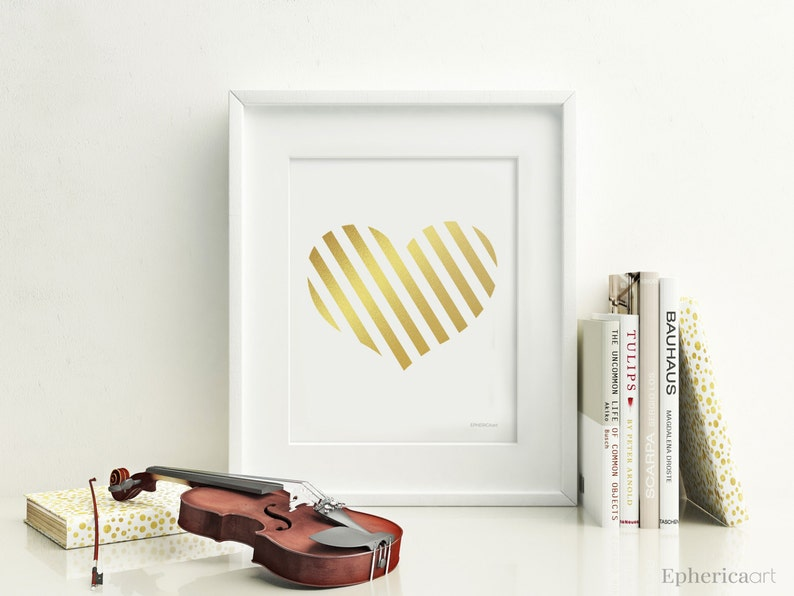 Golden Heart art print Teen girl room decor Downloadable image 0