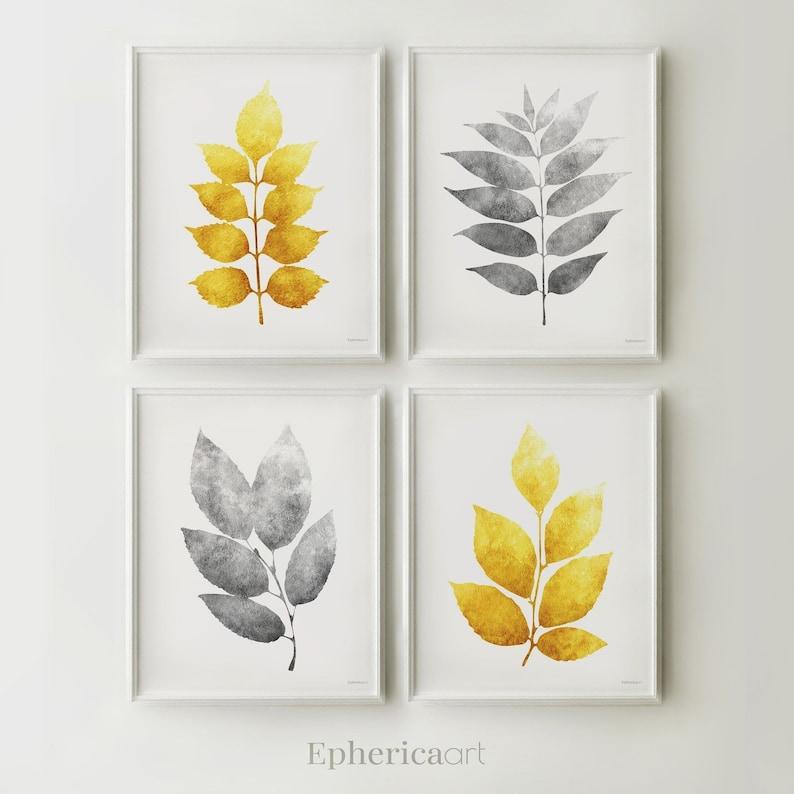 Printable Digital art prints Download Ochre Yellow and Gray image 0