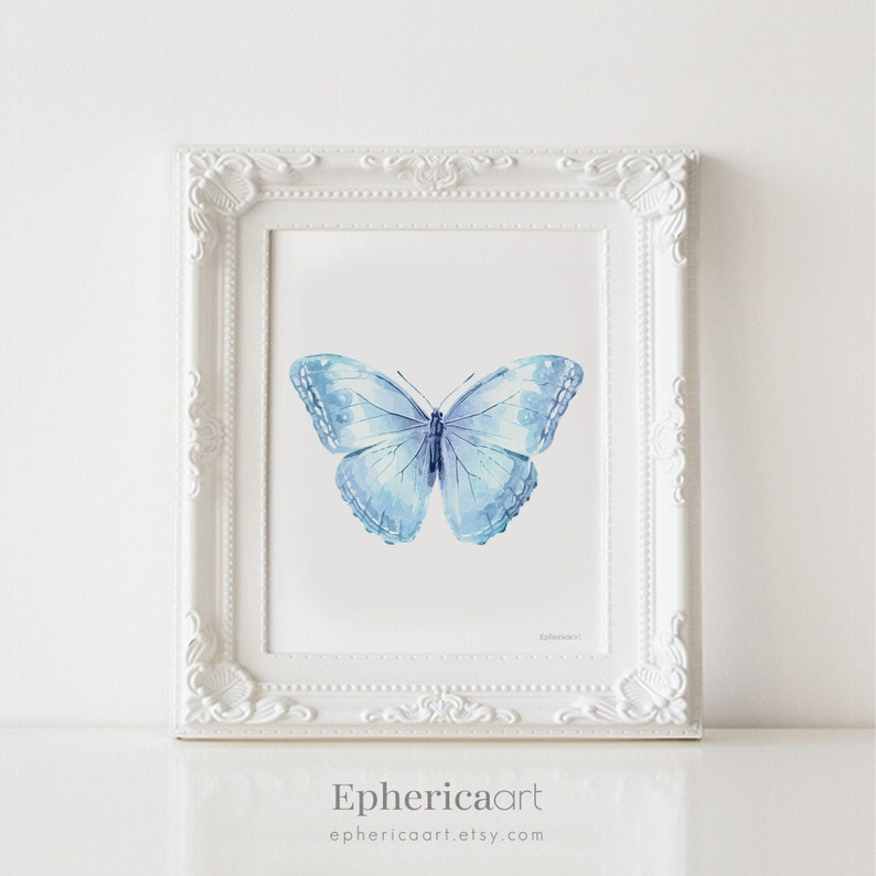Baby Blue Butterfly Printable Art 12x16 Art Print for image 0