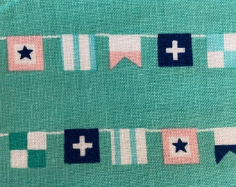 by the yard Blue Green Quilting Cotton Fabric Riley Blake Designs 6.99 SUPER SALE Seaside Flags Teal