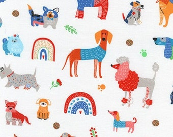 Whiskers and Tails Colorful Dogs by Robert Kaufman Fabrics