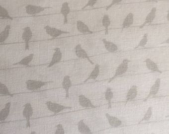 Birds on a Wire by Blank Textiles Gray on White