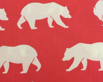 Bear Hike Coral by Jay-cyn for Birch Fabrics Organic Cotton