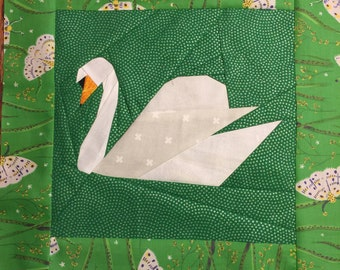 Swan Paper Piecing Pattern by Judy Gauthier for Finished Block 10'' x 10''