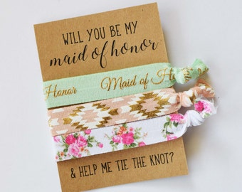 Will You Be My Maid of Honor // Help Me Tie the Knot // Bridesmaid Proposal// Maid of Honor Gift // Maid of Honor Hair Ties