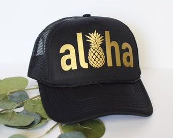 Aloha Trucker Hat  Aloha Pineapple Women s Trucker Hat  Mom Trucker Hat  Trucker  Hats for Women 0791af9850f2
