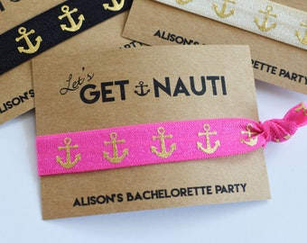 Bachelorette Party Favors Bachelorette Party Favor Hair Ties Let's Get Nauti Bachelorette Party Hair Tie Favors