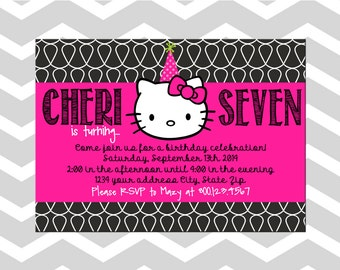 Hello Kitty Birthday Invitation/Card