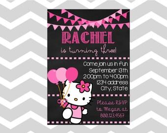 Hello Kitty Birthday Invitation/Card Hello Kitty Birthday Party Invitation/Card Chalkboard Hello Kitty Invitation/Card