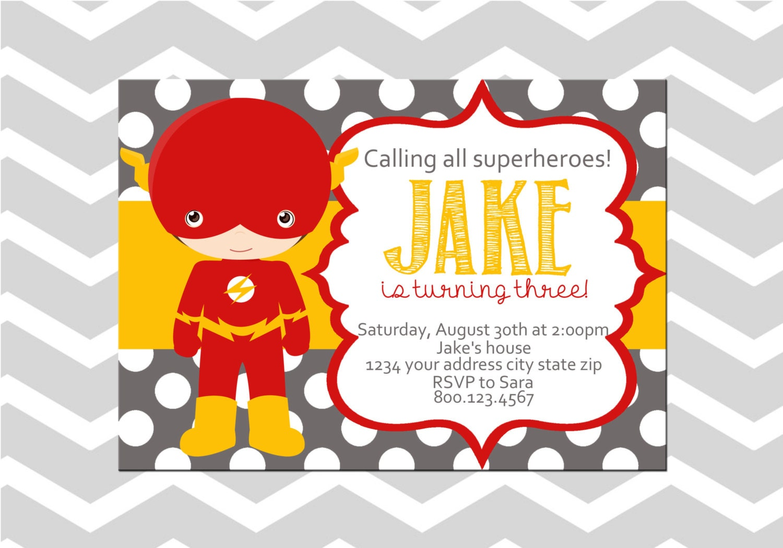 Flash Superhero Birthday Digital Invitation/Card   Etsy