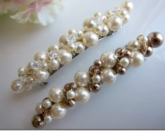 Hair Barrette, Hair Clip, Wedding Hair Accessories, Bridal Barrette, Wedding Barrette, Bridal Accessories, Swarovski pearl crystal brrrette