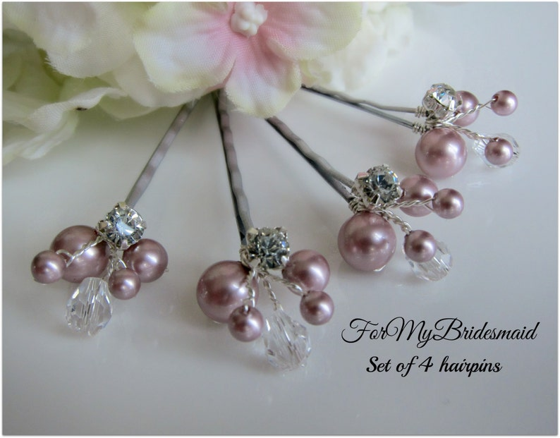 pick your color Set of 4 Wedding Hair pins Rhinestone Hair Pins Bridal Hair Pins Bridal Pearl Pins Pearl Pins