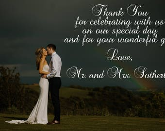 SALE: Wedding Thank You Cards with Photo and Custom Personalized Message, Free US Shipping