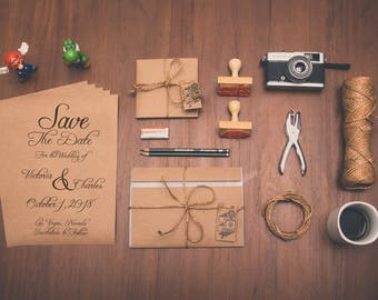 Rustic Save the Date Card on Brown Kraft Paper for Wedding Announcement
