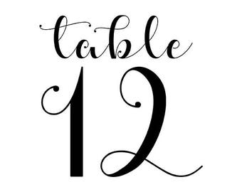 Whimsical Table Number Cards for Wedding Reception
