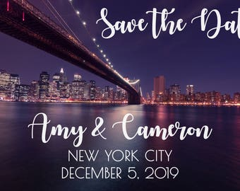 New York City Save the Date Card with Photo for Wedding Announcement, City, State, Travel Theme