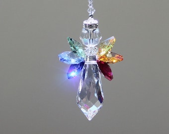 """Rainbow Angel Crystal Suncatcher, 6 Beautiful Swarovski Crystal Octagons in Rainbow Colors with a 38mm Prism and Crystal Halo, 6"""" Long"""