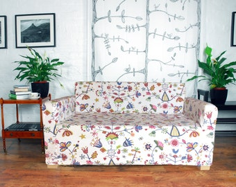 Slip Cover For The Ikea Solsta Sofa Bed In Enchanted Forrest Etsy