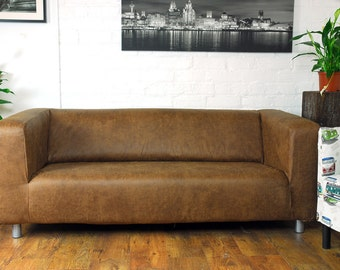 Ikea Klippan Range Slipcover In Tan Vintage Distressed Leather Look