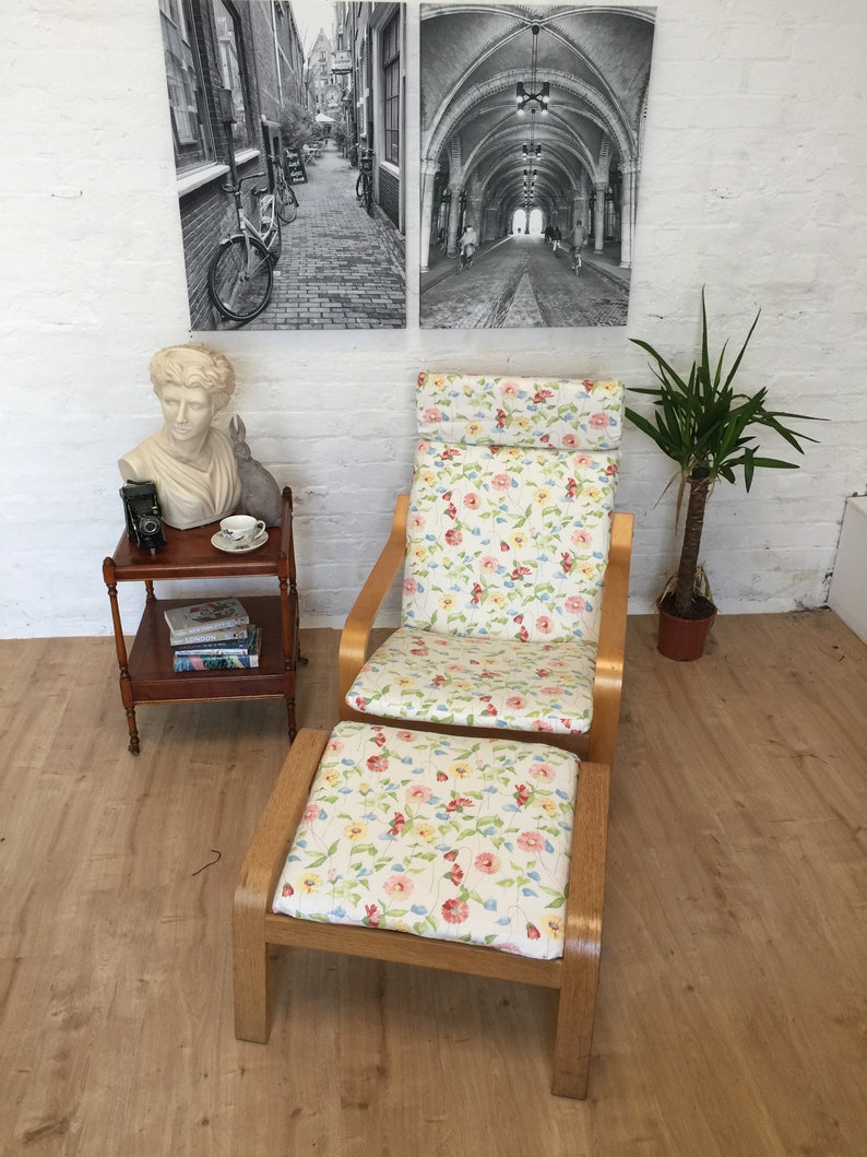Brilliant Ikea Adult Or Kids Poang Slip Cover In A Lovely In Daisy Chain Print Prestigious Cotton Print Fabric Machost Co Dining Chair Design Ideas Machostcouk