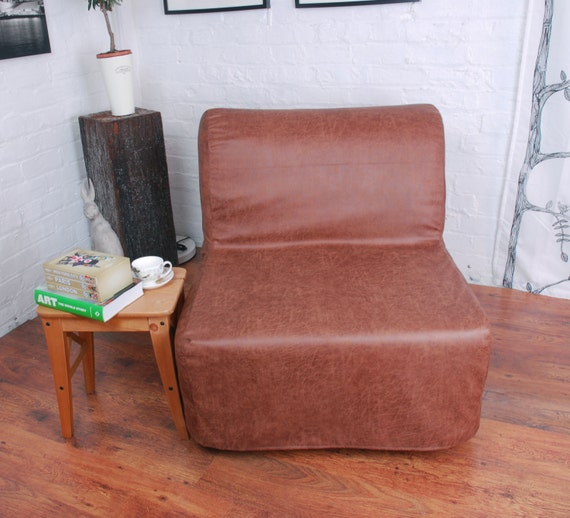 Peachy Ikea Lycksele Chair Or Double Sofa Bed Cover In Distressed Vintage Look Leather Look Fabric Machost Co Dining Chair Design Ideas Machostcouk