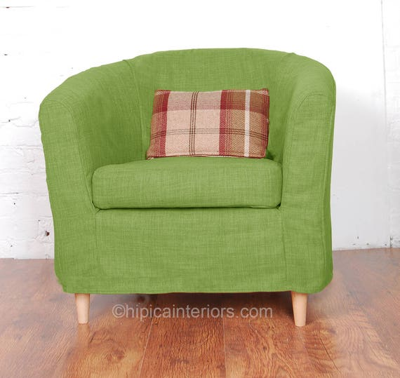 Swell Ikea Tullsta Tub Chair Slip Cover In Stunning Lime Linen Look Fabric Ncnpc Chair Design For Home Ncnpcorg