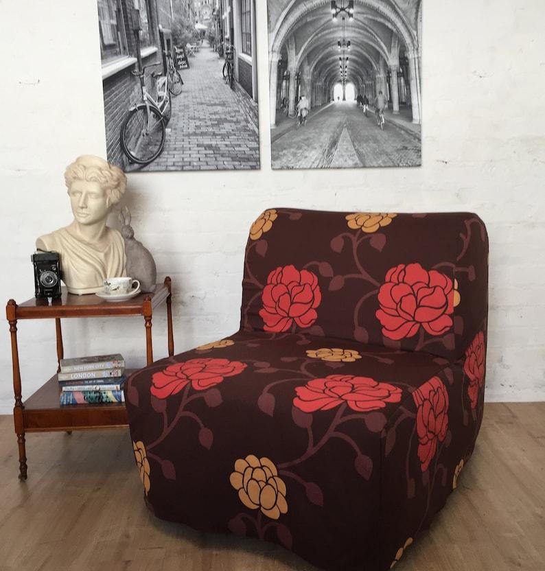 Lyksele Slaapbank Ikea.Ikea Lycksele Stoel Sofa Bed Slip Cover In Chocolade Floral Patroon Katoenen Stof