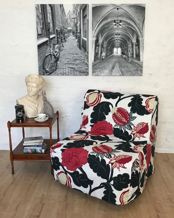 Groovy Ikea Lycksele Chair Bed Slip Cover In Bjork Floral Pattern Cotton Fabric Quick Dispatch Gmtry Best Dining Table And Chair Ideas Images Gmtryco