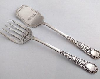 Artdeco Vintage silver plated fish servers faux bone handles /& sterling silver collars