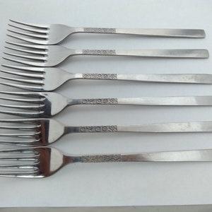Vintage set of 6 Viners stainless steel Love Story dinner  table forks