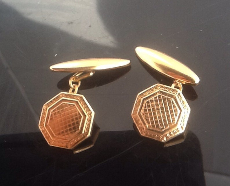 Vintage Gold Plated Art Deco Engine Turned Brass Cufflinks