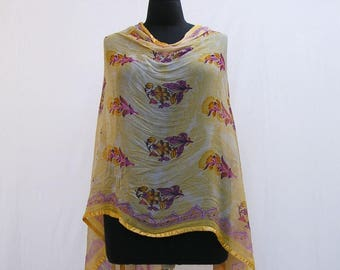 Pink and yellow poncho, yellow wrap, asymmetrical poncho, yellow shawl, yellow capelet, upcycled poncho, pink floral poncho, floral wrap