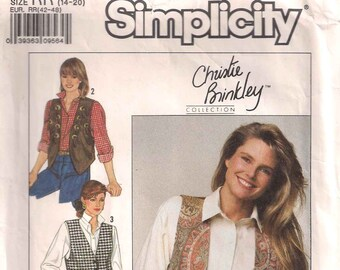 Simplicity 9373 sewing pattern, lined vest dressmaking pattern, size 14 - 20, 80s eighties 1980s, retro vintage pattern, Christie Brinkley