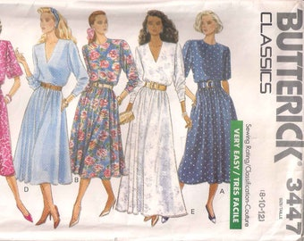 Butterick 3447 sewing pattern, Misses' pullover dress pattern, size 8 10 12, 80s eighties 1980s pattern, vintage pattern, retro pattern