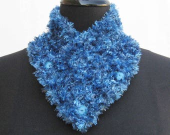 Royal Blue neck warmer, blue scarf, blue neck warmer, buttoned scarf, knitted cowl, blue neck wrap, blue neckwarmer, royal blue scarflet