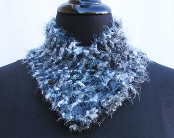 Black gray scarf, Black gray neck warmer, silver neck warmer, buttoned scarf, knitted cowl, black neck wrap, gray neckwarmer, grey scarf