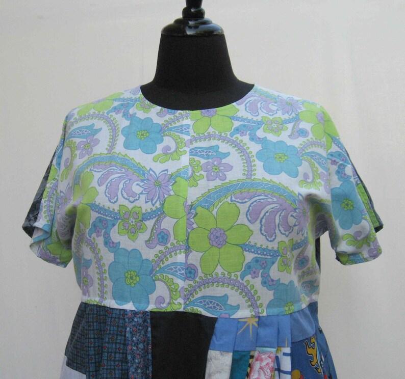 boho dress Blue dress upcycled dress plus size dress festival dress blue and white AU size 18 20 22 patchwork dress 1x 2x 3x dress