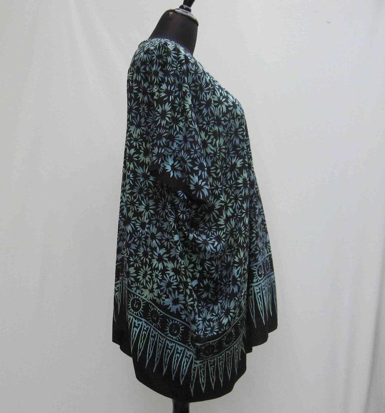 upcycled batik caftan Black and blue tunic batik kaftan plus size caftan batik cover up black tunic 1x 2x 3x 4x 5x 6x boho kaftan