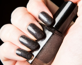 Darkside Nail Lacquer - Black rainbow holographic glitter nail polish .45oz/13.2mL