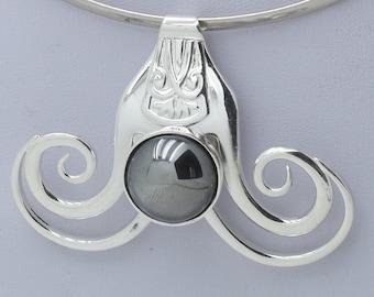 Fork jewel necklace pendant silver plate with hématite glass stone