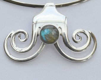 Fork jewel necklace pendant silver plate with labradorite stone