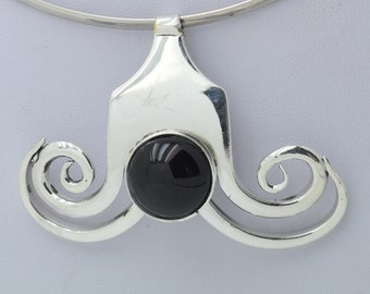 Fork jewel necklace pendant silver plate with black glass stone