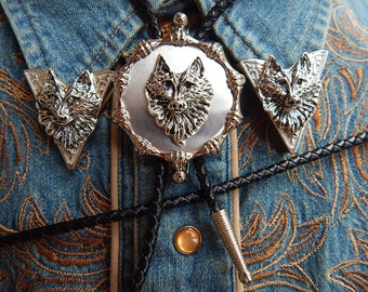 New Animal Bull Skull Bolo Bootlace And Collar Tips Set Silver Metal,western Herren-accessoires Kleidung & Accessoires