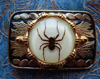 New Men Women Belt Buckle Glass Cowboy Antique Western Silver Tarantula Spider